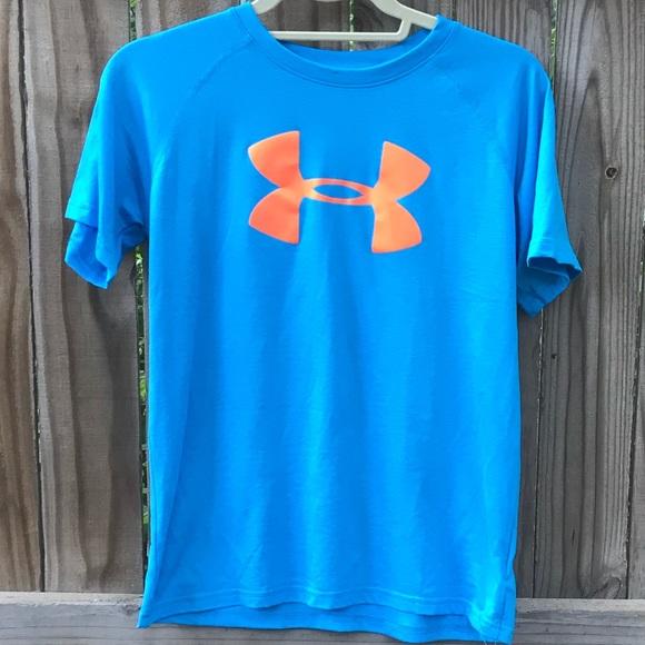Under Armour Boys Shirt Blue Orange Heatgear
